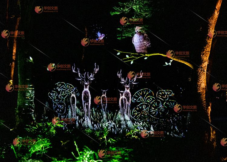 景区夜游 全息投影 森林投影
