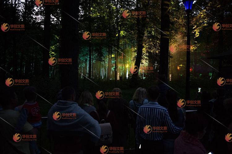 景区夜游全息投影森林投影