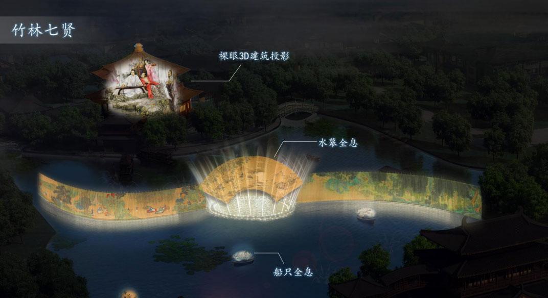 焦作云台小镇文旅景区夜游古建筑投影+水幕投影策划